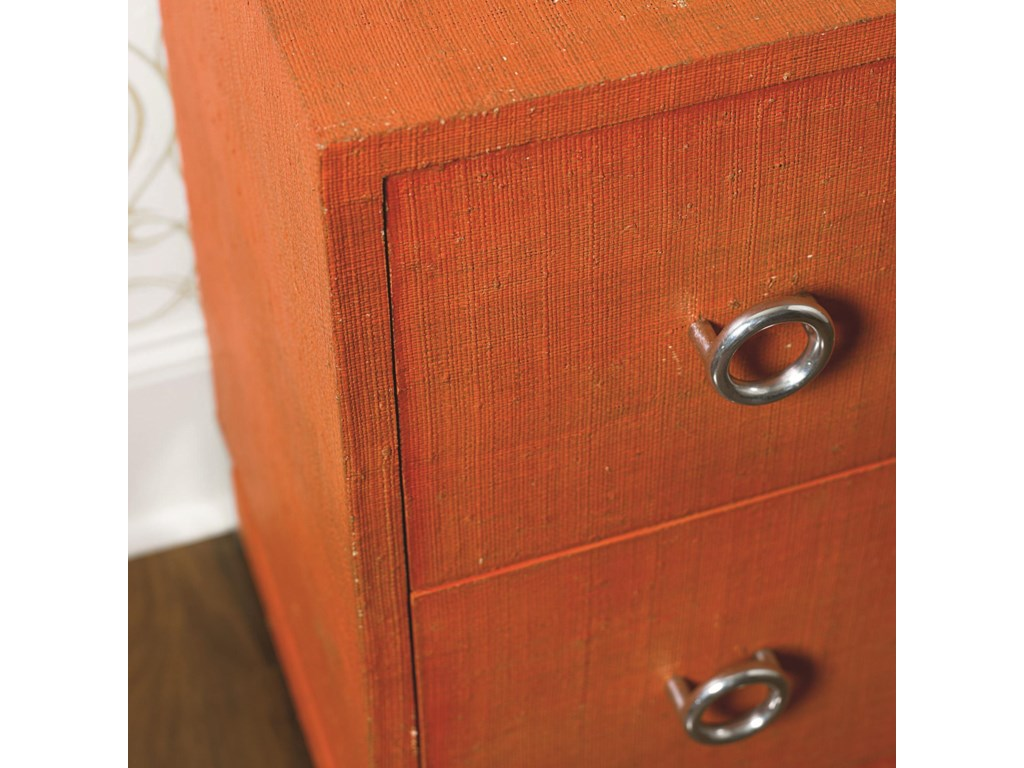 Detail of Orange Painted Raffia Finish on Top, Edge and Drawer Fronts