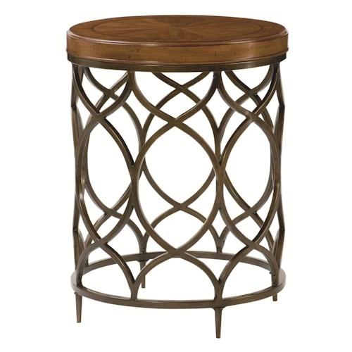 Hammary Hidden Treasures Round Lamp Table with Decorative Bronze Colored Base