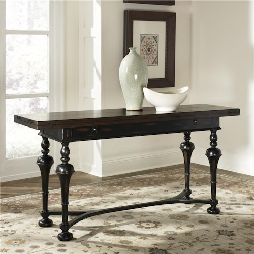 Hammary Hidden Treasures Console with Fold Out Top and Turned Legs