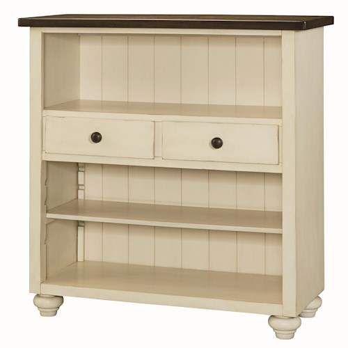 Hammary Heartland Bookcase with 2 Drawers and 1 Adjustable Shelf and 1 Fixed Shelf