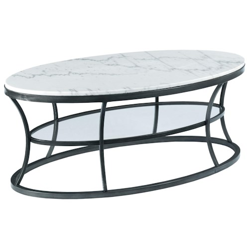 Morris Home Furnishings Impact Oval Cocktail Table with Marble Top and Glass Shelf