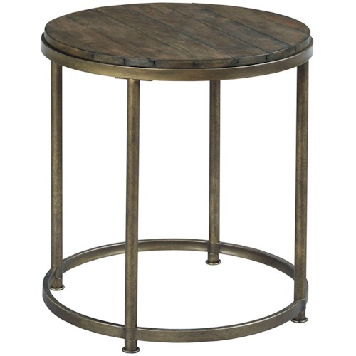 Morris Home Furnishings Leone Round End Table with Antique Brass Base