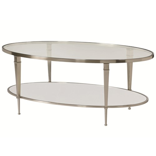 Morris Home Furnishings Mallory Oval Satin Nickel Antique Mirror Finish Cocktail Table
