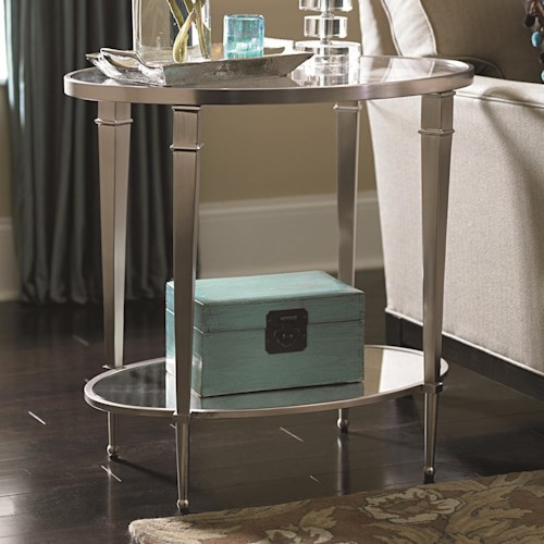 Morris Home Furnishings Mallory Antique Silver Nickel Oval End Table