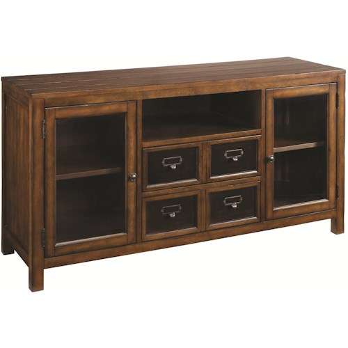 Morris Home Furnishings Mercantile 54-Inch Entertainment Console with Two Glass Doors & Two Drawers