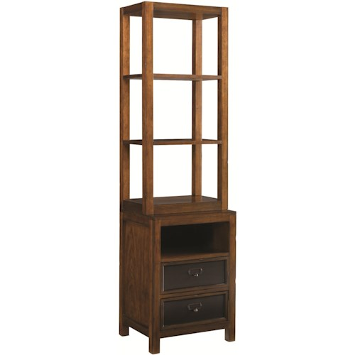 Morris Home Furnishings Mercantile Two-Drawer Entertainment Pier with Two Adjustable Shelves