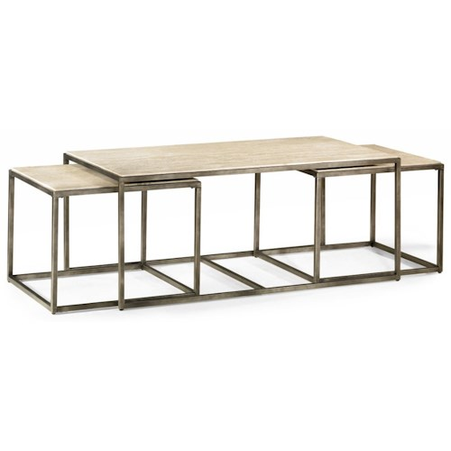 Hammary Modern Basics Rectangular Cocktail Table with Bronze with Nesting Tables