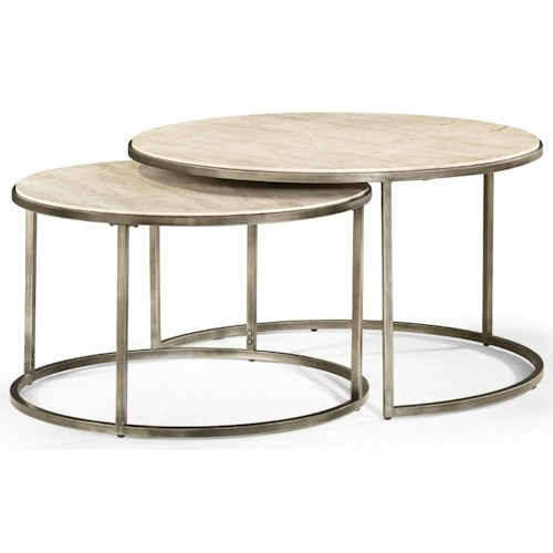 Hammary Modern Basics Round Cocktail Table with Nesting Tables