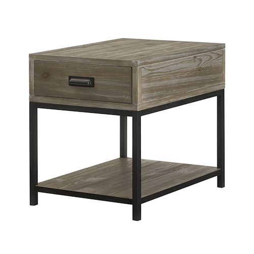 Morris Home Furnishings Parsons Rectangular Drawer End Table with Shelf
