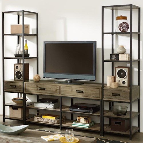 Morris Home Furnishings Parsons Entertainment Unit with Bookcase Piers