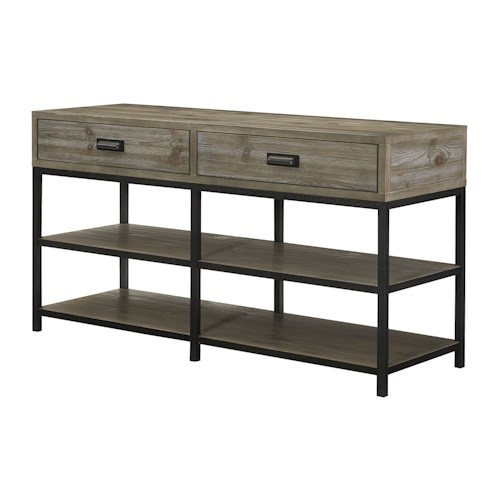 Morris Home Furnishings Parsons Entertainment Console with Shelves and Drawer Storage
