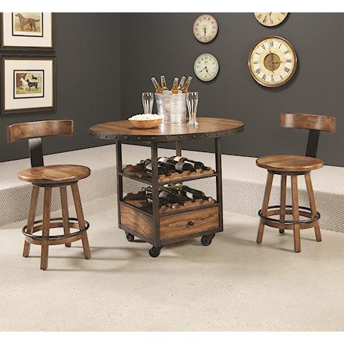 Morris Home Furnishings Americana Home 3 Piece Pub Table and Klismo Stool Set