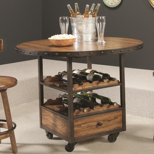 Morris Home Furnishings Americana Home High Dining Table with Wine and Bottle Storage