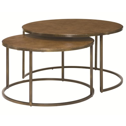 Morris Home Furnishings Soho Round Nesting Cocktail Table with Rubbed Bronze Metal Base