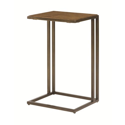 Hammary Soho Square Accent Table with Rubbed Bronze Metal Base