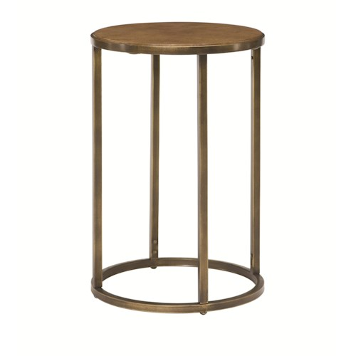 Hammary Soho Round End Table with Rubbed Bronze Metal Base