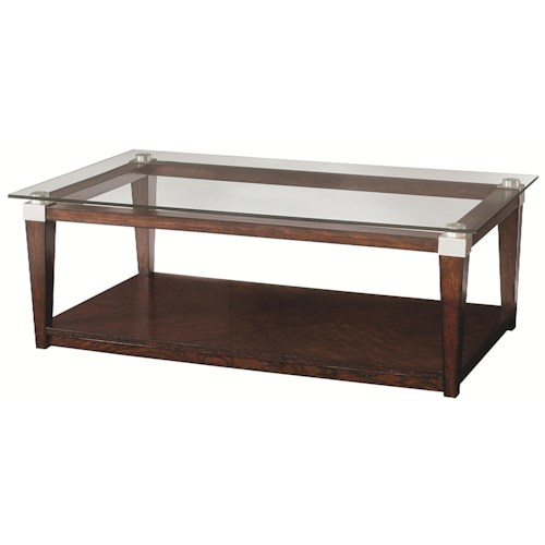 Morris Home Furnishings Solitaire Contemporary Rectangular Coffee Table with Glass Top