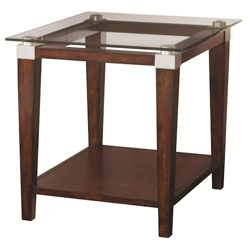 Hammary Solitaire Contemporary End Table with Glass Top
