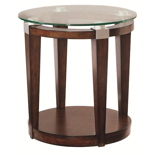 Morris Home Furnishings Solitaire Contemporary Round Accent Table with Glass Top