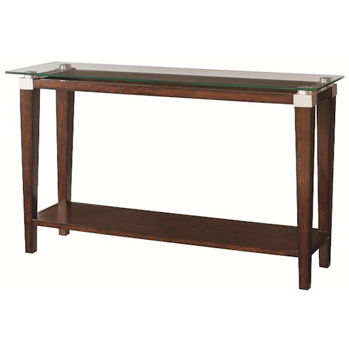 Morris Home Furnishings Solitaire Contemporary Sofa Table with Glass Top
