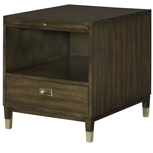 Morris Home Furnishings Stratus Rectangular Drawer End Table with Open Compartment
