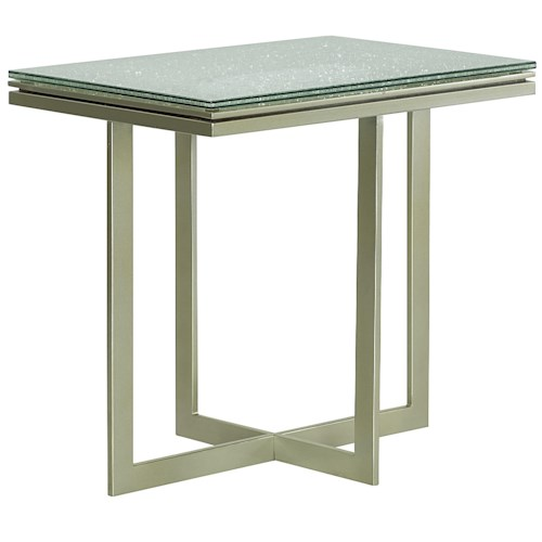Morris Home Furnishings Stratus Accent Table with Cracked Glass Top