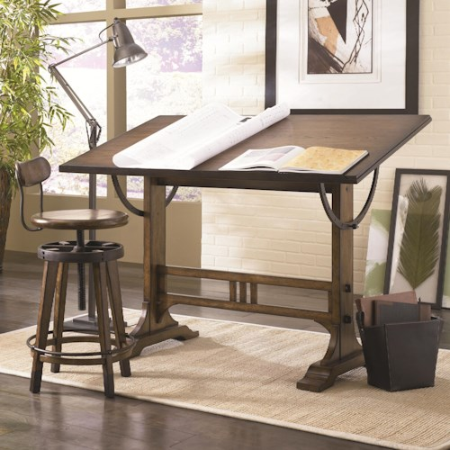 Hammary Studio Home Architect Desk and Adjustable Swivel Stool