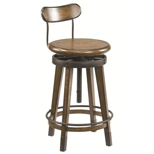 Hammary Studio Home Urban Weathered Oak Swivel Adjustable Stool
