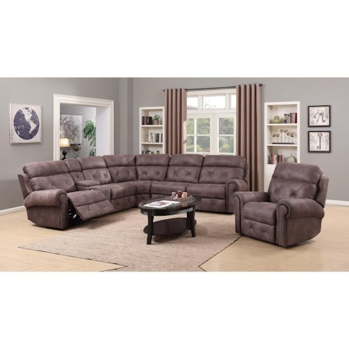 Happy Leather Company 1378 Power Reclining Royal Furniture Reclining Living Room Groups