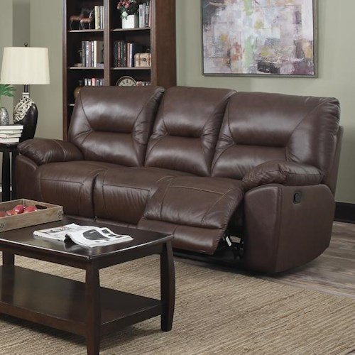 Happy Leather Company 5901 Casual Reclining Sofa with Pillow Arms