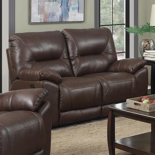Happy Leather Company 5901 Casual Reclining Loveseat with Pillow Arms