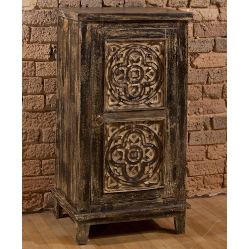 Morris Home Furnishings Accents Three Tier Cabinet with Medallion Design Door