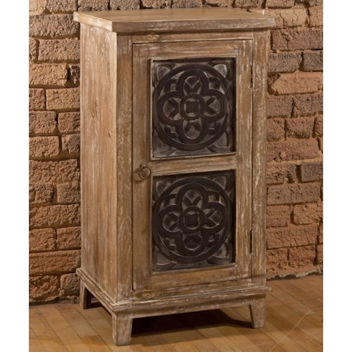 Hillsdale Accents Three Tier Cabinet with Medallion Design Door