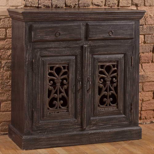 Morris Home Furnishings Accents Distressed Black Sideboard with Detailed Doors