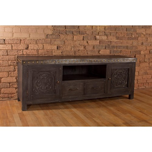Morris Home Furnishings Accents Entertainment Unit with Celtic-Inspired Detail