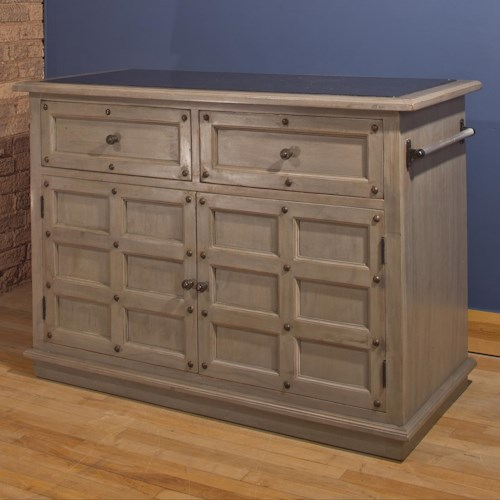 Morris Home Furnishings Accents Kitchen Island with Storage Space and Granite Top