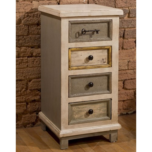 Morris Home Furnishings Accents White Four Drawer Cabinet with Key Hardware