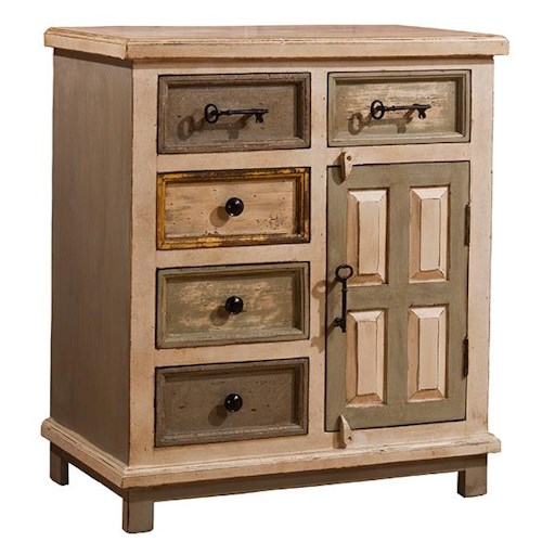 Morris Home Furnishings Accents Larose Cabinet with 5 Drawers and 1 Door with Key Handles