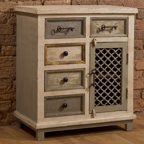 Hillsdale Accents White Cabinet with Key Hardware and Woven Metal Door