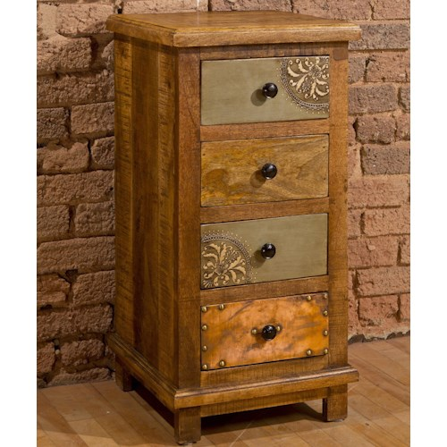 Hillsdale Accents Four Drawer Accent Cabinet with X Design