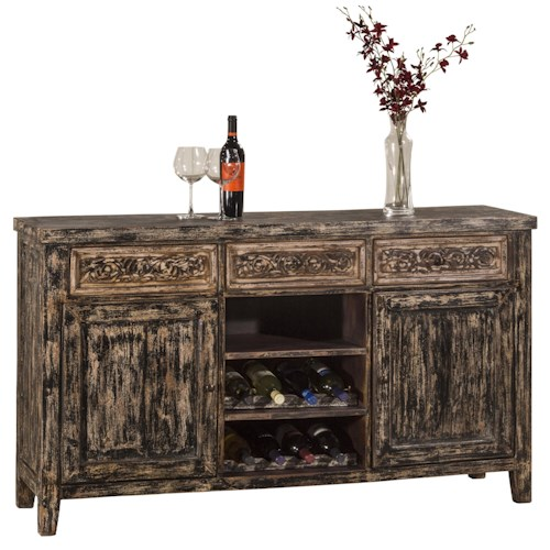 Morris Home Furnishings Accents Sofa Table with Two Door Storage and Wine Rack