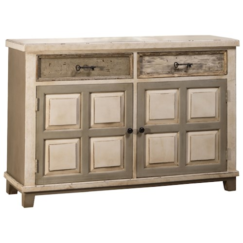 Morris Home Furnishings Accents Console Table with Two Door Storage and Light Distressed Finish