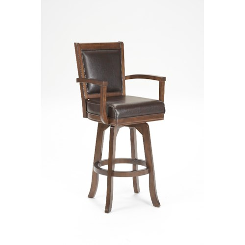 Morris Home Furnishings Ambassador Swivel Counter Stool with Leather Upholstery