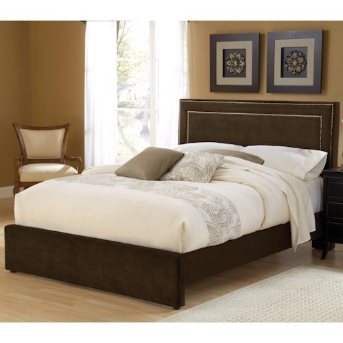 Morris Home Furnishings Amber Chocolate Queen Upholstered Bed Set with Rails