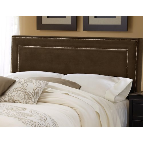 Morris Home Furnishings Amber Chocolate Upholstered Queen Headboard with Rails