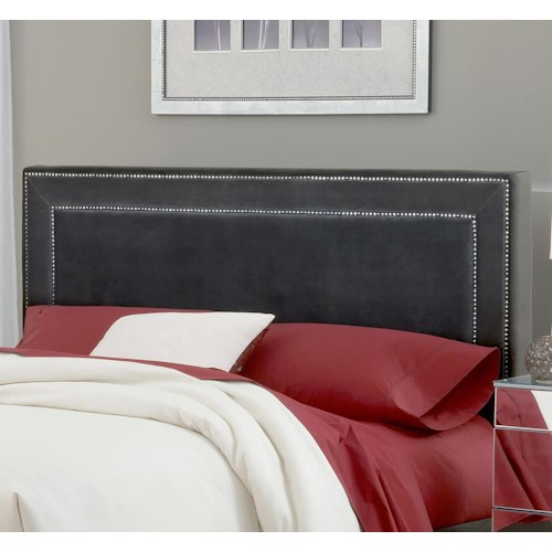 Morris Home Furnishings Amber Pewter Fabric Headboard - Queen