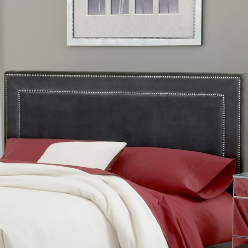 Morris Home Furnishings Amber Pewter Fabric Headboard - King