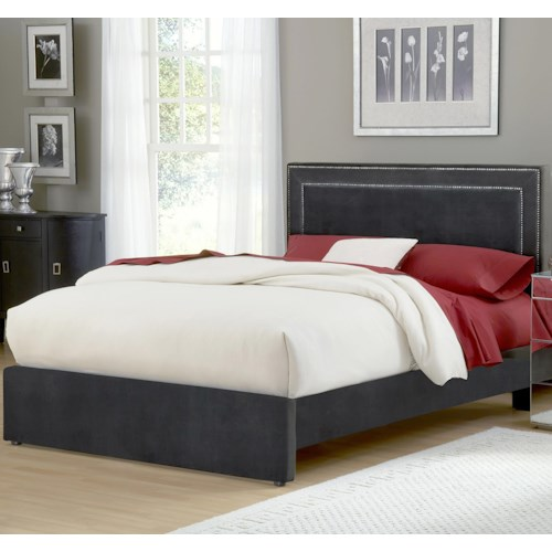 Morris Home Furnishings Amber Pewter King Upholstered Bed Set with Rails
