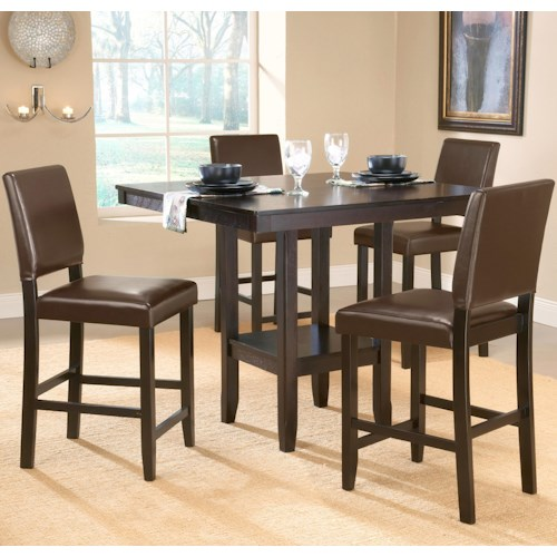 Morris Home Furnishings Arcadia 5 Piece Counter Height Table Set with Parsons Stools