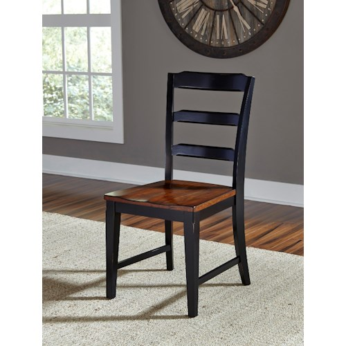 Hillsdale Avalon Black Ladder Back Chair with Dark Cherry Seat